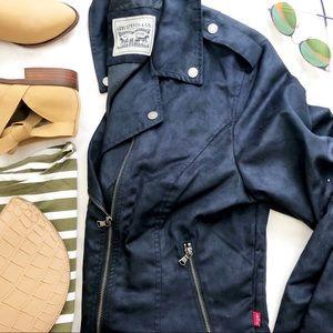 Levi's Navy Faux Suede Moto Jacket